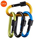 4 Pack Carabiner Clip with Lock D Shape, Aluminum Carabiner Keychain Climbing Carabiner with 110 Lbs Load Capacity Durable Screw Gate Climbing Hooks for Outdoor Camping Fishing Hiking Traveling, 3.15
