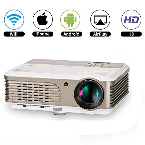 Wireless LED HD Android Home Theater Projectors with Zoom Remote LCD Video Projector Wifi Airplay Miracast HDMI USB VGA AV RCA Audio Out for DVD Laptop iPhone iPad PC Mac XBOX One Games Outdoor Movie