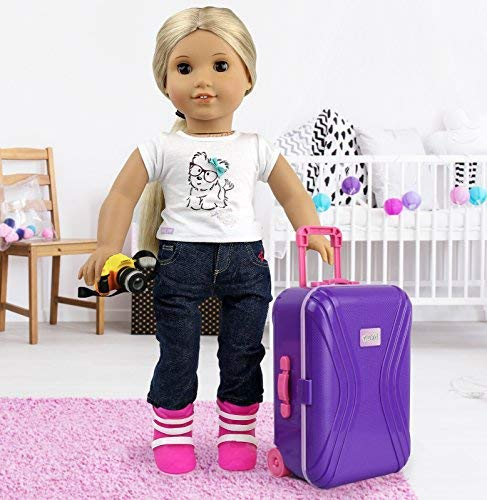 """708d94c12d Click N' Play 18"""" Doll Travel Carry on Suitcase Luggage 7 Piece Set with  Travel Gear Accessories, Perfect for 18 inch American Girl Dolls"""