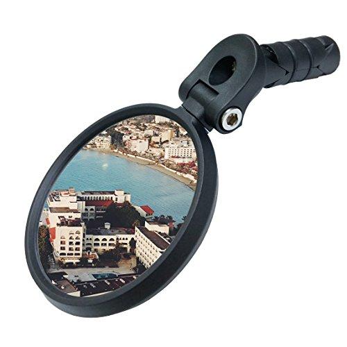 MEACHOW Bar End Bike Mirror, Scratch Resistant Glass Lens,HD,Safe Rearview Mirror (Blue) ME-001B
