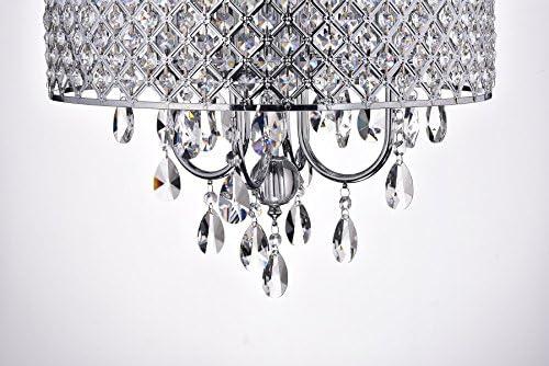 Edvivi Marya 4-Light Chrome Round Crystal Chandelier Ceiling Fixture | Beaded Drum Shade | Glam Lighting 4