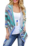 Women's Casual Front Cable Cardigans 3/4 Sleeve Striped Printed Cardigan Blue Large