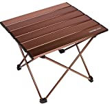 Trekology Camping/Beach Table with Aluminum Table Top Portable Folding Table in a Bag for Beach, Picnic, Camp, Patio, Fishing, RV, Indoor, Brown Color