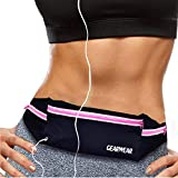 GEARWEAR Running Runners Belt for iPhone 7 8 Plus X Reflective Water Resistant Cell Phone Holder Waist Pack Fanny Bag for Workout Sports Walking Fitness Exercise Pink Zipper