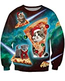 uideazone Ugly Cat Eat Pizza Shirt Women Men Christmas Pullover Sweatshirts X-mas Gift W5 Asia XXL= US XL