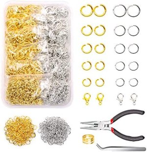 YUGARUZY Open Jump Rings Kit, 1200PCS Open Jump Rings and Lobster Clasps Jump Rings Opener Pliers Tweezers for Jewelry Making, Accessories Repair and Craft Projects Making(Silver/Gold)