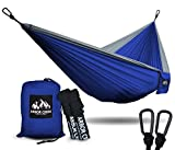 XL Double Camping Hammock - Heavy Duty and Ultralight Nylon Travel Hammock - Upgraded Carabiners Portable Hammock with Tree Straps – Indoor & Backyard Hammock –Easy Setup Hammock - Holds 500 lbs!