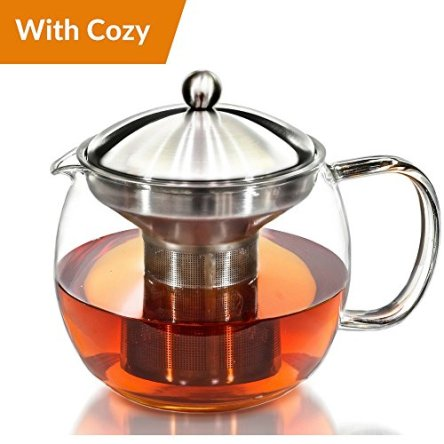 Teapot Kettle with Warmer – Tea Pot and Tea Infuser Set – Glass Tea Maker Infusers Holds 3-4 Cups Loose Leaf Iced