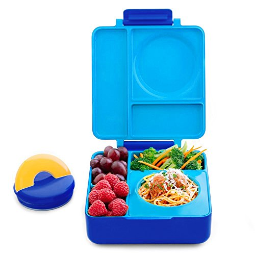 OmieBox Bento Lunch Box for Hot & Cold Food | 3 Compartments, Two Temperature Zones + Thermos Food Jar for Kids - Leak-Proof and Insulated - (Blue Sky) (Single)