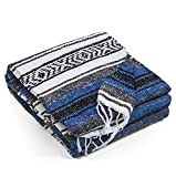 Topaz Hill Mexican Blanket - Large Size Woven Yoga Blanket for Outdoor - Throw for Picnic, Beach, Park, Travel, Bedding, Home Decor (Blue)