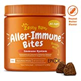 Zesty Paws Allergy Immune Supplement for Dogs - with Omega 3 Wild Alaskan Salmon Fish Oil & EpiCor + Digestive Prebiotics & Probiotics - Anti Itch & Skin Hot Spots + Seasonal Allergies - 90 Chews