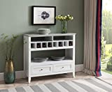 Product review for Kings Brand Furniture White With Marble Finish Buffet Display Console Table With Wine Storage