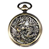 Product review of TREEWETO Mechanical Skeleton Pocket Watch Lucky Phoenix & Dragon Hollow Case Fob Pocket Watches