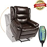 PieDle Electric Power Lift Recliner Chair, Leather Recliners for Elderly, Home Sofa Chairs with Heat & Massage, Remote Control, 3 Positions, 2 Side Pockets and USB Ports, Brown