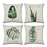 Aremazing Throw Pillow Covers Tropical Green Leaf Plant Dercorative Cotton Linen Throw Pillow Case Cushion Cover Protector 18 x 18 Inches for Home Sofa Couch,Set of 4 (4 Pack Green Fern)