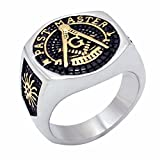 Vintage Men's Ring Masonic Freemason Past Master Biker Stainless Steel Knight Templar Rings US 7-14 Father's Day Gift Size 11