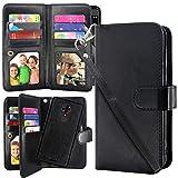 T-Mobile REVVL Plus Case,Harryshell Luxury 12 Card Slots Detachable Magnetic Wallet Shockproof PU Leather Flip Protective Case with Wrist Strap for REVVL Plus 3701A (Black)