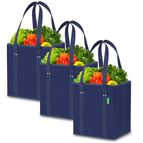 Reusable Grocery Shopping Box Bags (3 Pack - Blue). Handy, Premium Quality, Heavy Duty...
