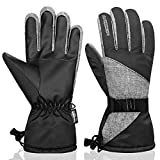 Anqier Winter Gloves for Women Thermal Waterproof Mens Ski Gloves 3M Thinsulate Warm Snow Snowboard Cold Weather Gloves (Black, Medium)