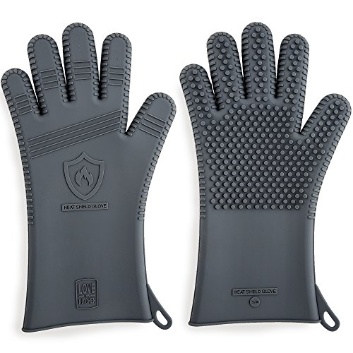 Premium Silicone BBQ Gloves & Grill Gloves in Attractive Gift Box | 13.5' Long for Better Protection | These Grilling Gloves are Best For Barbecue & Oven | Heat Resistant to 442 F (Size: L, 1 Pair)