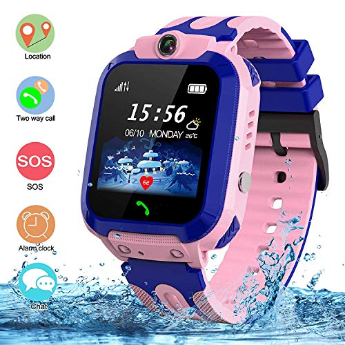 SZBXD Kids Waterproof Smart Watch, GPS Tracker Phone SOS Anti-Lost Alarm Sim Card Slot Touch Screen Voice Chat Smartwatch Birthday for Children Girls Boys (Pink)