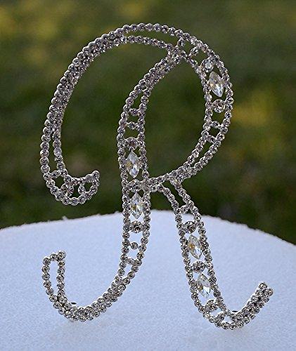 large 5 crystal rhinestone silver cake topper letter r monogram wedding birthday