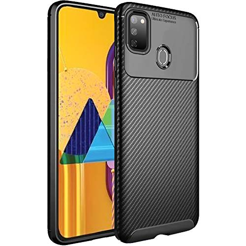 TheGiftKart Rugged Carbon Fibre Samsung Galaxy M21 / M30s Armor Back Cover Case | Shockproof & Protective | Stunning Minimalist Design (Black) 117