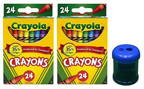 Crayola Crayons, 24 Count, 2 Pack and Crayon and Pencil Sharpener