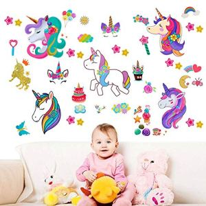 Over 100pcs Removable Unicorn Ornament Window Decal Applique Decoration, Children's School Home Office Unicorn, Flowers, Cake, Rainbow, Stars Accessories Party Supplies Gifts – 5 Large Sheets 5162kjftBKL