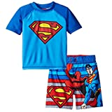 Superman Boys Swim Trunks and Rash Guard Set (2T, Superman Blue)