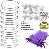 ChangJin 10PCS/Set Silver Tone Expandable Wire Bangle Bracelets Charms Gift Bags Kit