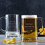 Personalized Uncle Beer Mug - Best Birthday Gifts for Uncle from Niece Nephew - Engraved Glass Tankard with Handle