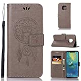Huawei Mate 20 Pro Leather Case, Huawei Mate 20 Pro Wallet Case, PU Leather Embossed Floral Flip Case with Credit Card Holder for Huawei Mate 20 Pro