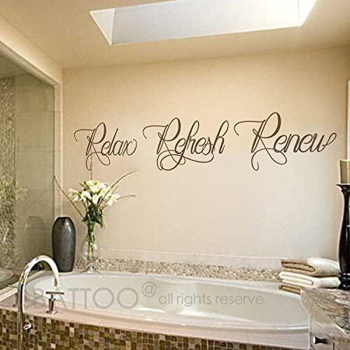 Amazon Com Battoo Bathroom Wall Art Bathroom Wall Decal Relax Refresh Renew Spa Wall Decal Bath Wall Decal Bathroom Decor Bathroom Wall Sticker Dark Brown 22 Wx4 H Furniture Decor