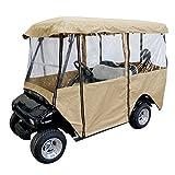 Leader Accessories Golf Cart Storage Cover Deluxe Driving Enclosure Fit EZ Go, Club Car, Yamaha Cart - Beige W Zipper (4-Person)