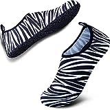 SIMARI Anti Slip Water Shoes for Women Men Summer Outdoor Beach Swim Surf Pool SWS002 Zebra 11-12