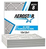 Aerostar 12x12x1 MERV 8 Pleated Air Filter, Made in the USA, 6-Pack
