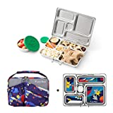 PLANETBOX Rover Eco-Friendly Stainless Steel Bento Lunch Box with 5 Compartments for Adults and Kids (Rockets Carry Bag with Rockets Magnets)