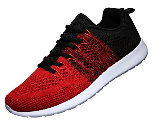 WELMEE Men's Knit Breathable Casual Sneakers Lightweight Athletic Tennis Walking Running Shoes, Red, 7.5 D(M) US
