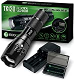 Complete LED Tactical Flashlight Kit - EcoGear FX TK120: Handheld Light with 5 Light Modes, Water Resistant, Zoomable - Includes Rechargeable Batteries and Battery Charger - Perfect Fathers Day Gift