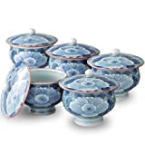 Sumi Botan Arita Yaki 3.6inch Set of 5 Teacups White Porcelain