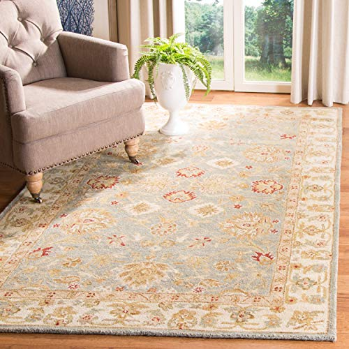 Safavieh Antiquities Collection AT822A Handmade Traditional Oriental Grey Blue and Beige Wool Area Rug (8' x 10')