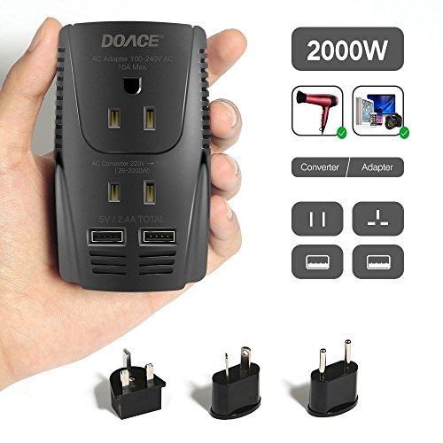 2019 Upgraded DOACE C11 2000W Travel Voltage Converter for Hair Dryer Straightener, Flat Iron, Set Down 220V to 110V, 10A Power Adapter with 2-port USB, EU/UK/AU/US Plug for Laptop, Camera, Cell Phone