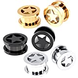 Partyfareast Body Piercing Jewelry 3 Pairs Stainless Steel Ear Stretcher 3 Colors (Gauge=8mm(0g))