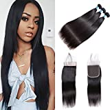 Brazilian Virgin Straight Human Hair 3 Bundles With Lace Closure BLY Unprocessed Hair Extensions Weave With 4x4 Lace Frontal Closure Silky Straight Natural Black Color (18/20/22+16 Inch)
