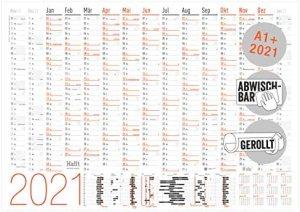 XXL Wandkalender abwischbar 2021 [Neon] 89 cm x 63 cm (A1+), gerollt | 15 Monate: Nov 2020 – Jan 2022 | Wandplaner mit Ferien- und Feiertage-Übersicht | klimaneutral & nachhaltig