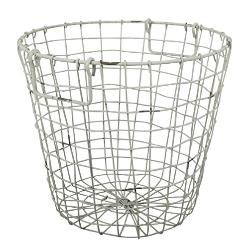 A&B Home D42474-WHIT Grafton Round Wire Basket, Antique White, 13.8 ...