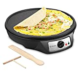Electric Crepe Maker, iSiLER 1080W Electric Pancakes Maker Griddle, 12' Electric Nonstick Crepe Pan with Batter Spreader & Wooden Spatula, Precise Temperature Control for Roti, Tortilla, Eggs, BBQ