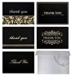 Best 100 Thank You Cards with Self-Seal Envelopes Set, Blank Inside, 4x6 Photo Size, Black and Gold Foil Thank You Note Cards Bulk Pack, 5 Designs - for Wedding, Bridal, Baby Shower, Funeral, Business