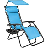 Best Choice Products Folding Zero Gravity Recliner Lounge Chair W/Canopy Shade & Magazine Cup Holder-Light Blue